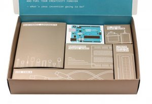 The Arduino Starter Kit is neatly arranged