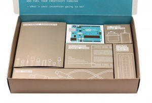 The Arduino Starter Kit is neatly arranged