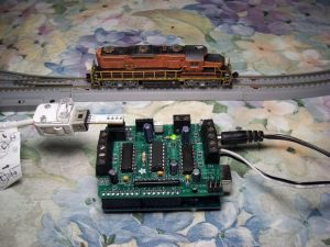 The train is controlled via an Arduino and motor shield