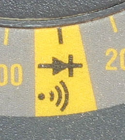 The continuity option is the diode symbol, and a sound wave symbol if it features a sound function